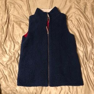 Blue, cream and red Sherpa vest